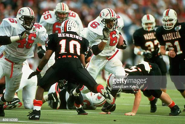 Canton McKinley High School Adrian Brown in action rushing vs Massillon Washington High School Annual game dates back to 1894 Massillon OH 11/5/1994...