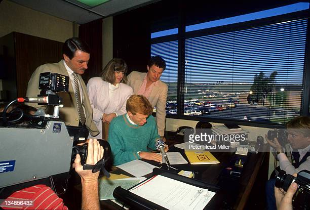 Capistrano Valley High School QB Todd Marinovich signing letter of intent to USC with principal Anthony mother Trudi and father Marv Media Mission...