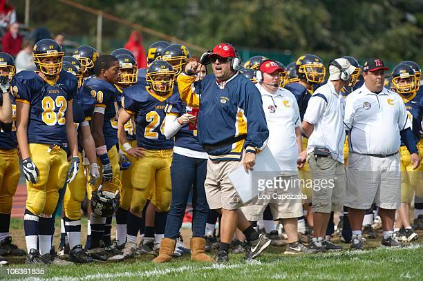 Colonia High coach Ben LaSala during game vs South Princeton High at Patriot Field LaSala wears Rutgers hat in tribute to former Colonia player and...