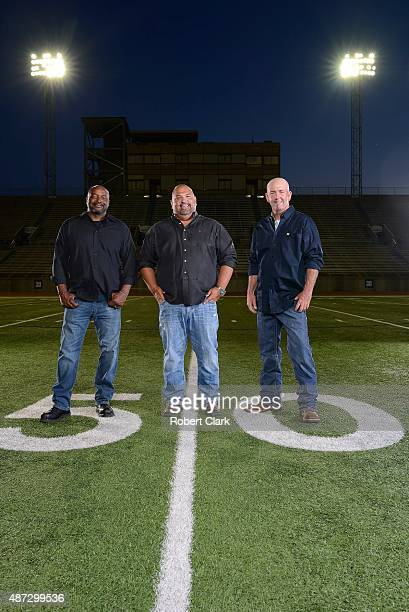 Friday Night Lights 25th Anniversary Portrait of former Permian HS players Ivory Christian Brian Chavez and Mike Winchell during photo shoot at...