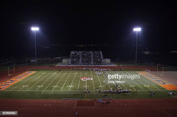 Overall view of field during Lancaster HS vs Waxahachie HS game at Beverly D Humphrey Tiger Stadium Lancaster TX 9/18/2009 CREDIT Greg Nelson