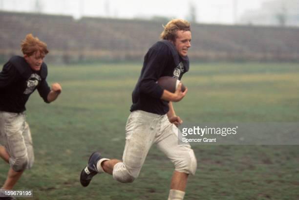 High school football practice in the South Boston neighborhood Boston Massachusetts 1973