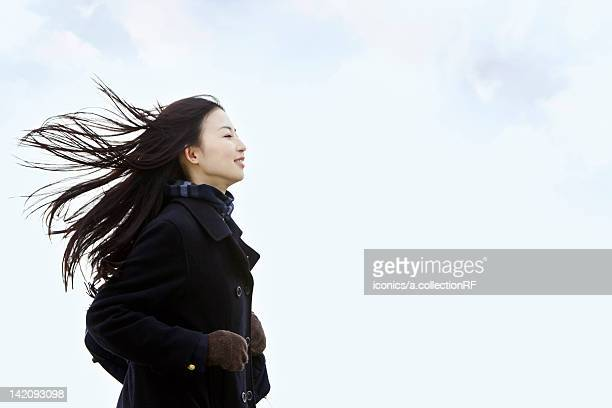 High school girl in the wind
