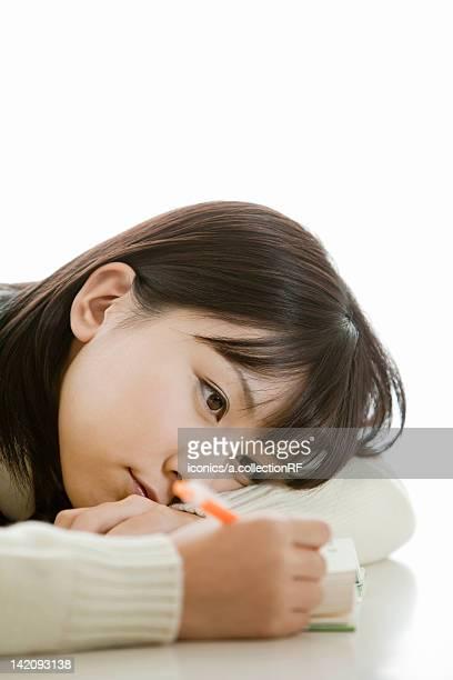 High school girl studying