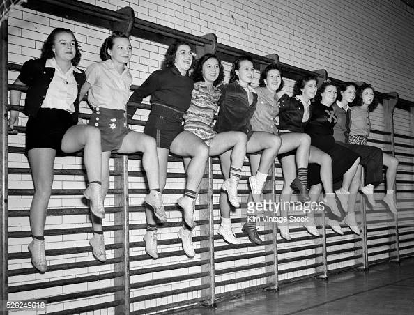 High School Girls Hang From A Gym Wall Rack Ca 1942 News
