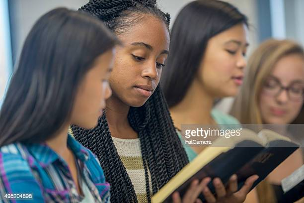 High School Girls Having a Bible Study