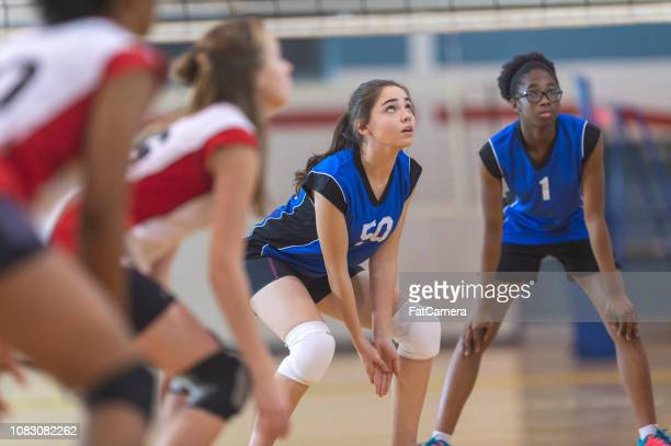 high school girl's volleyball - high school volleyball stock photos and pictures