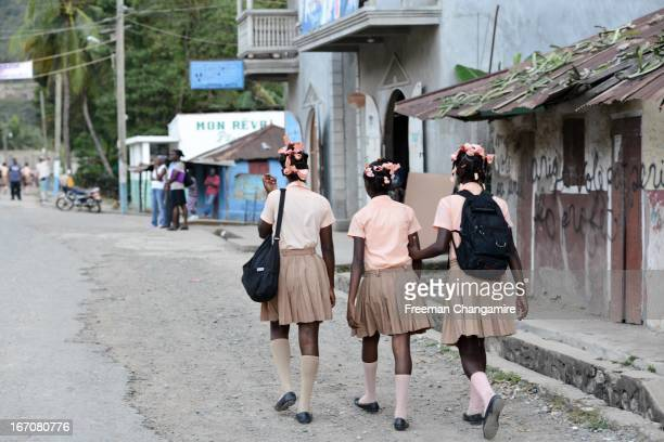 High school girls walking home from school in Milot, Haiti