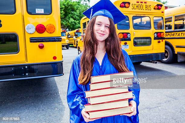 high school graduate dressed in her gown. - hot high school girls stock photos and pictures