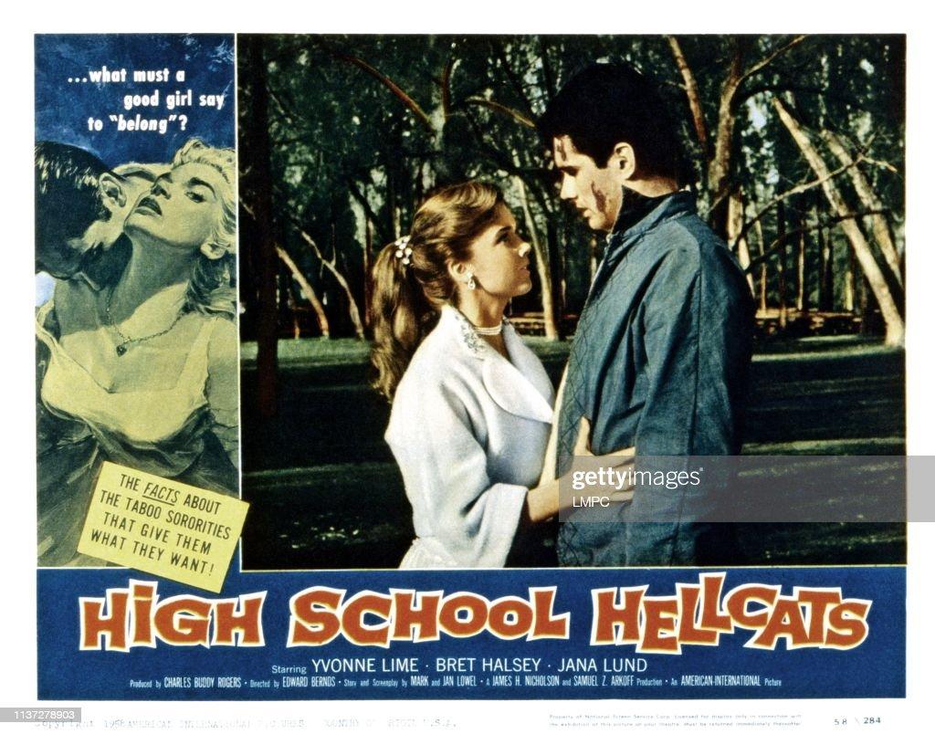 American Taboo Movie high school hellcats, lobbycard, from left, yvonne lime
