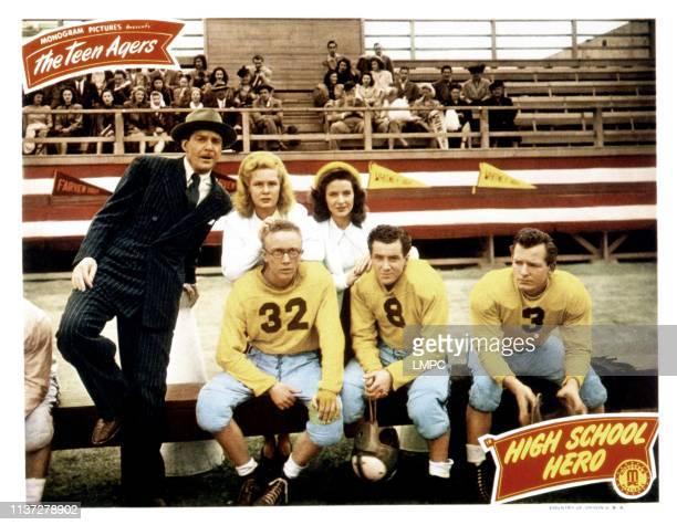 High School Hero, lobbycard, back, from left, Douglas Fowley, June Preisser, Noel Neill; front, from left, Warren Mills, Freddie Stewart, 1946.