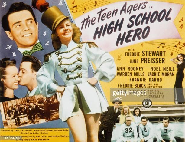 High School Hero, poster, from left, Noel Neill, Freddie Stewart, , June Preisser, 1946.