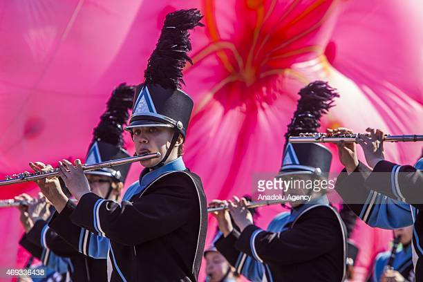 A high school marching band during the National Cherry Blossom Festival and Parade in Washington USA on April 11 2015