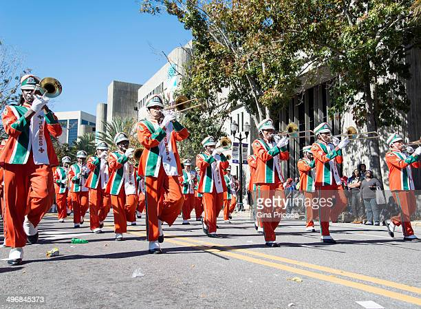 High School marching band during the parade of Martin Luther King in Orlando, Florida.