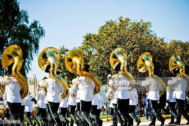 high school marching band (tubas) - marching stock pictures, royalty-free photos & images
