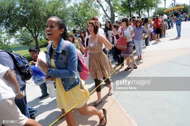 """High School Musical"""" hopefuls line up before the opening of the Disney's High School Musical Get in the Picture Session Casting at Disney's Wide..."""