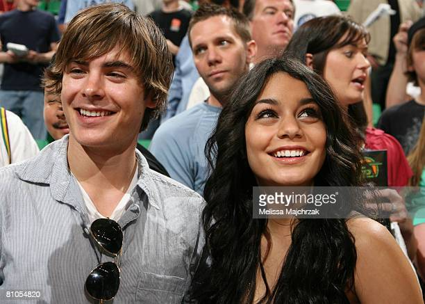 High School Musical series stars Zac Efron and Vanessa Hudgens take in the matchup between the Utah Jazz and the Los Angeles Lakers in Game Four of...