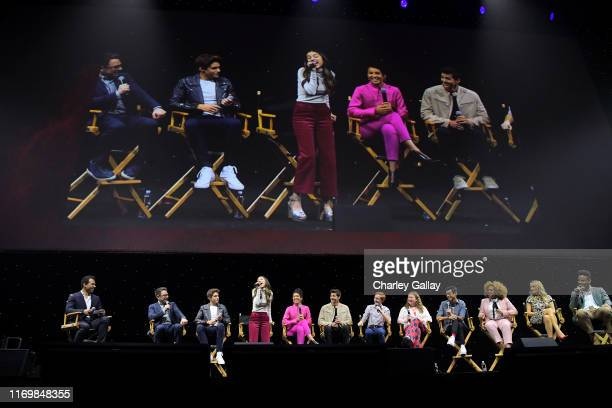 "High School Musical: The Musical: The Series"" cast members Joshua Bassett, Olivia Rodrigo, Matt Cornett, Sofia Wylie, Julia Lester, Larry Saperstein,..."