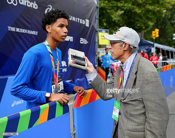 High school race winner Matthew Nieves of Brooklyn is interviewed after the kids portion of the race during the TCS New York City Marathon on...