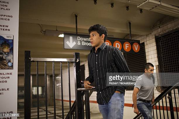 High school senior Mohamed Amin 18 years changes subway trains while he travels 90 minutes to school June 7 2010 in New York New York Mohamed will...