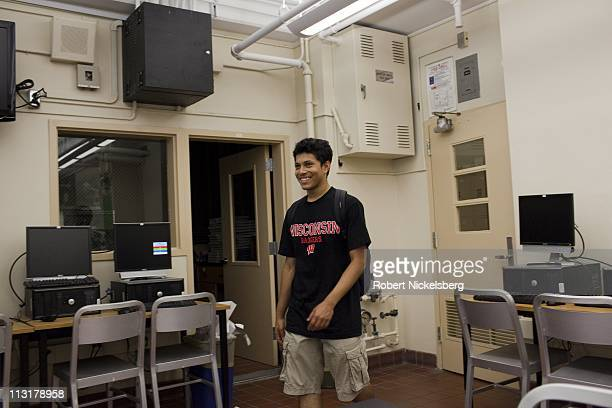High school senior Mohamed Amin, 18 years, walks into his environmental sciences class June 14, 2010 in Bronx, New York. Mohamed will graduate from...