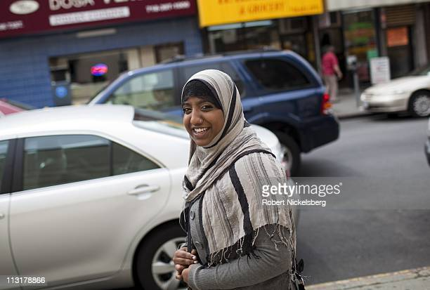 High school senior Sharmin Hossain leaves her home for a job as a student organizer May 17 2010 in Jackson Heights NY Sharmin works part time at...