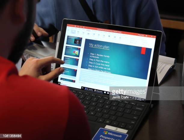 High School Seniors Teachers and Principal from Redwood Christian School attend the Microsoft Store on December 11 2018 in San Francisco California