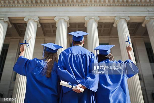 High School Student Graduates Reaching for University Higher Education