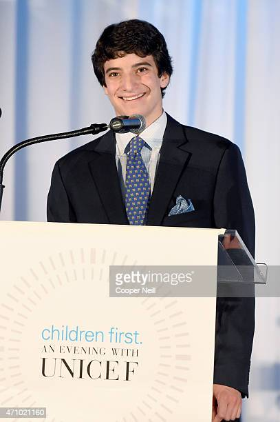 High School student Henry Goldberg speaks onstage during Children First An Evening with UNICEF an event celebrating American Airlines' charitable...