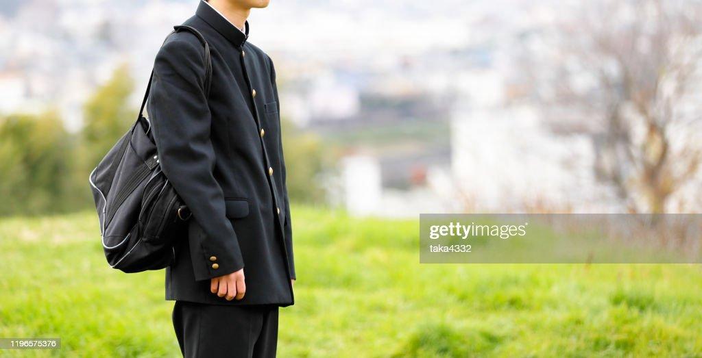 High school student in uniform : Stock Photo