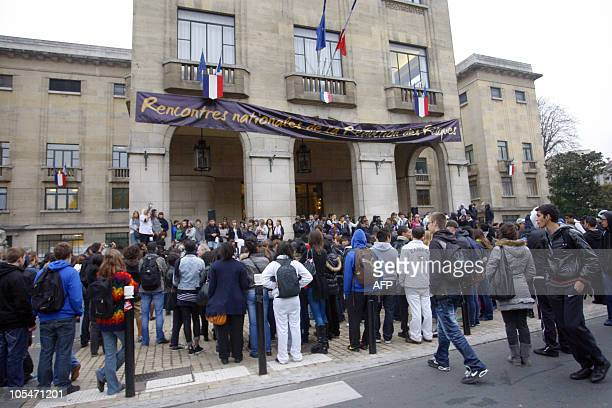 High school students arrive at the Montreuil city hall on October 15 2010 in a Paris suburb as they demonstrate to protest against France's...