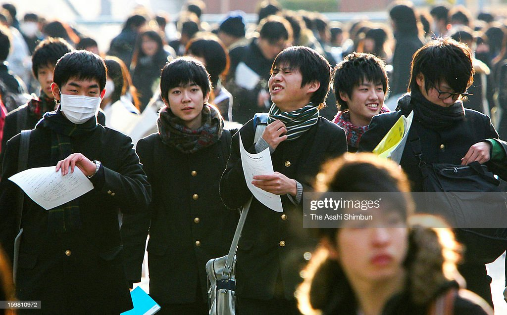 High school students attend the National Center Test at Nagoya University on January 19, 2013 in Nagoya, Aichi, Japan. 573,344 who wish to enter universities and colleges applied for the test.