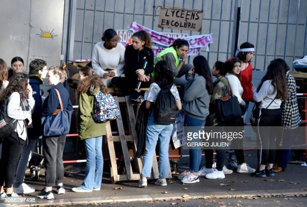 High school students block one of a entrance of Thiers high school during a protest against French government Education reforms on December 4 2018 in...