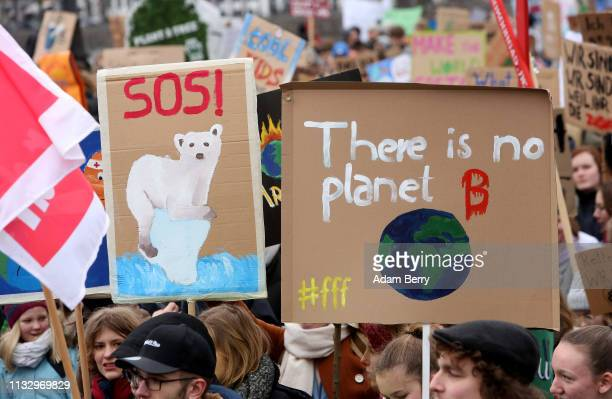 High school students demonstrate against global warming at a Fridays for Future demonstration on March 01 2019 in Hamburg Germany Fridays for Future...