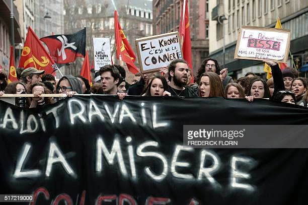 High school students demonstrate against the government's proposed labour law reform on March 24 2016 in Strasbourg eastern France Students have been...