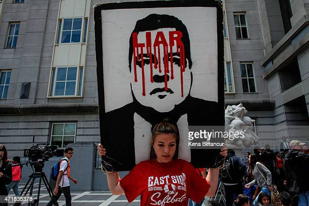 High school students demonstrate outside the United States District Court May 1 2015 in Newark New Jersey Former Port Authority appointee of New...