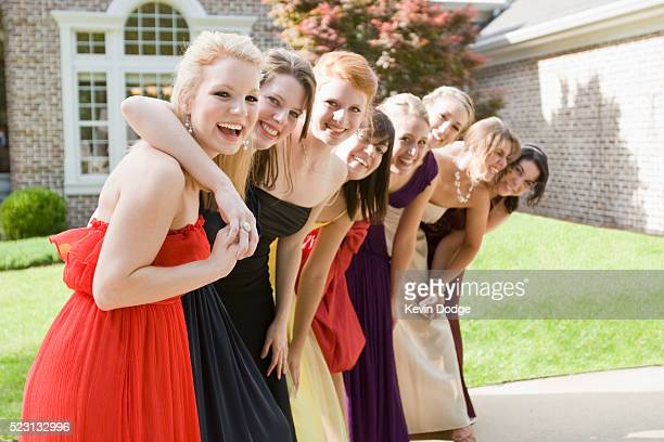High school students dressed for a prom