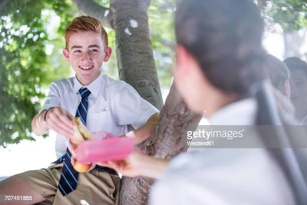 High school students having lunch break