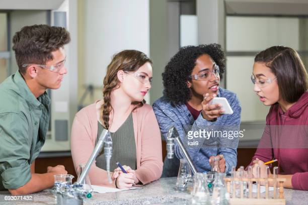 High school students in chemistry lab