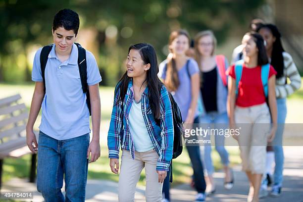 High School Students Walking to Class
