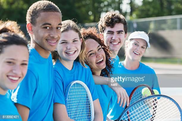 High school tennis team with coach.