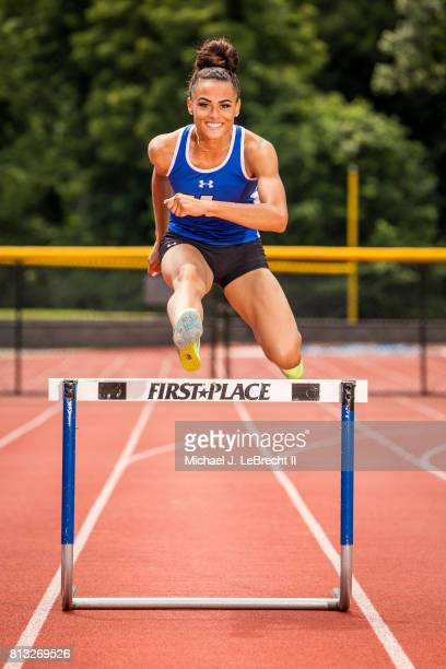 Gatorade High School Athlete of the Year Portrait of Union Catholic hurdler and sprinter Sydney McLaughlin posing in action during photo shoot at...