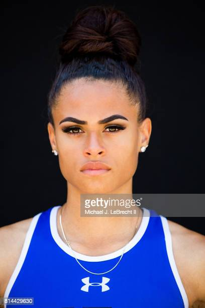 Gatorade High School Athlete of the Year Closeup portrait of Union Catholic HS hurdler and sprinter Sydney McLaughlin posing during photo shoot at...