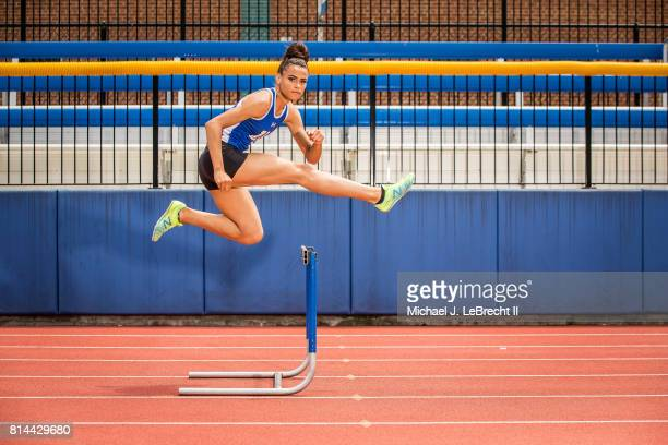 Gatorade High School Athlete of the Year Portrait of Union Catholic HS hurdler and sprinter Sydney McLaughlin posing in action during photo shoot at...