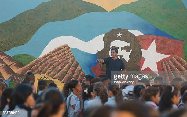 High School with Che Guevara mural in courtyard