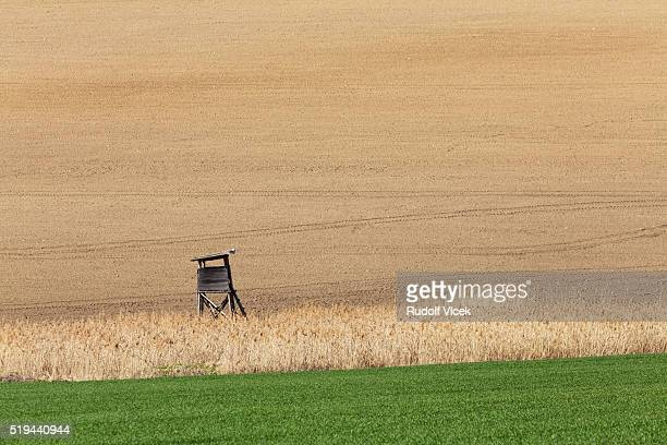 high seat for hunters in the fields - czech hunters stock pictures, royalty-free photos & images