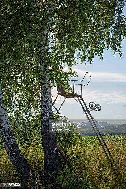 high seat for hunters - czech hunters stock pictures, royalty-free photos & images