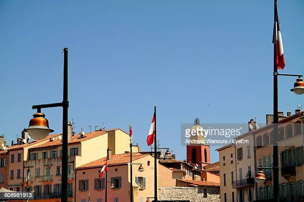 High Section Of Buildings Against Clear Sky At St Tropez