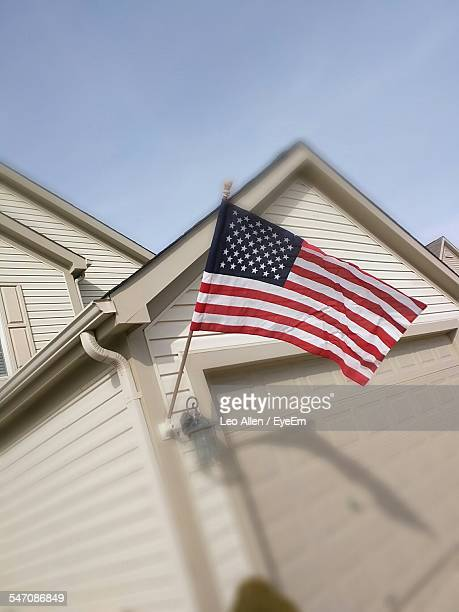 High Section Of Built Structure With American Flag