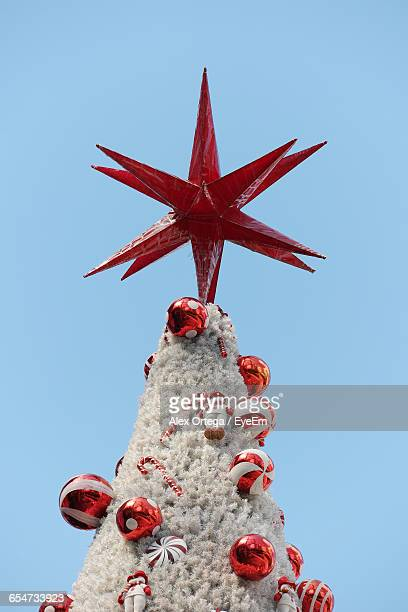 High Section Of Christmas Tree Against Clear Sky